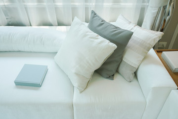 Pillows and books setting on white sofa in living room