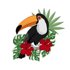 Summer colorful poster of palm and tropical leaves, Toucan, flowers. Vector illustration.