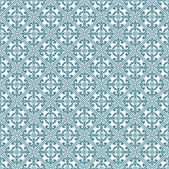 Cyan Damask Seamless Pattern Backdrop. Vector.