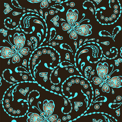 Blue and brown seamless pattern with butterflies and hearts. Decorative ornament backdrop for fabric, textile, wrapping paper, card, invitation, wallpaper, web design.