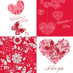 Set of cute greeting card with butterflies and hearts. On Valentine's Day, Happy Birthday, congratulations, invitations.