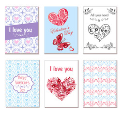 Vector set of greeting cards with hearts, butterflies and flowers. Suitable for invitations, greetings for a Happy Valentine's, Mother's Day.