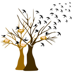 tree with birds flying and birds nest background vector illustration