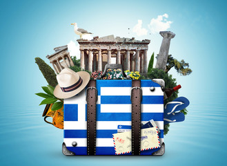 Fotorolgordijn Athene Greece, vintage suitcase with Greece landmarks