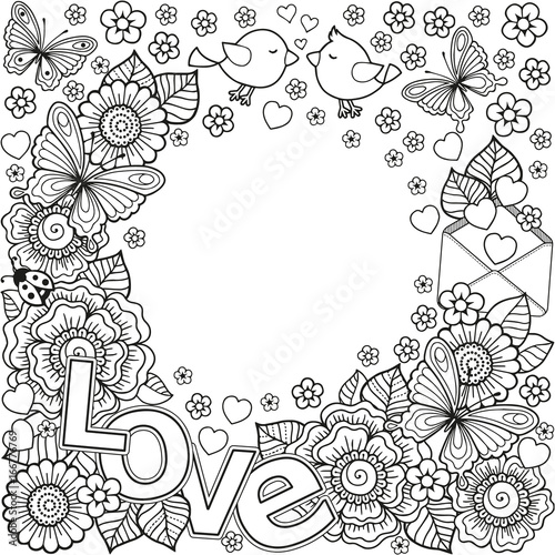 I love you. Abstract coloring book for Adult. Design for wedding ...