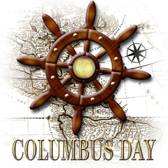 Happy Columbus Day, 3D, Nautical classic wood ship rudder, banner with golden accents. Wood style and old map as background.