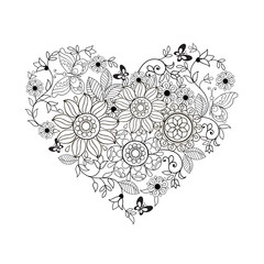 Heart of flowers and butterflies for coloring books for adults and older children