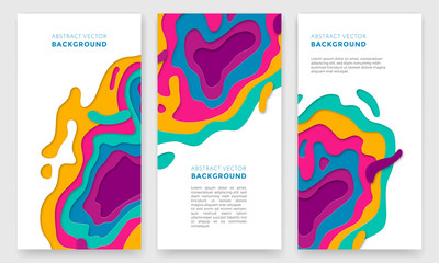 Banner color abstract multi gradient color vector layers effect pattern paper cut