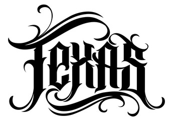 Texas lettering in modern tattoo style. Design element