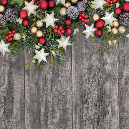 Christmas Background Border With Bauble Decorations Holly