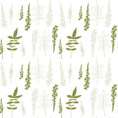 Floral vector seamless pattern with hand drawn wild meadow flowers and leaves.
