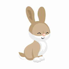 The image of cute little rabbit in cartoon style. Vector children's illustration.