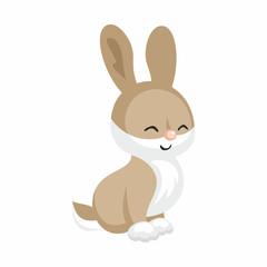 The image of cute little rabbit in cartoon style. Vector children's illustration.