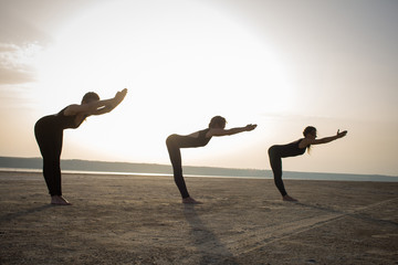 young women practicing yoga poses and asanas. Partner yoga, acrobatic yoga. Yoga class in black wear training in desert during sunset