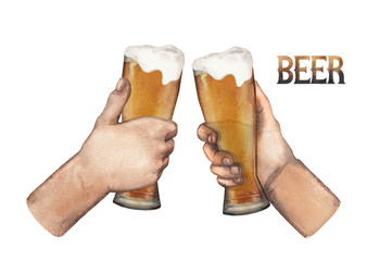 Watercolor hands with glasses of beer