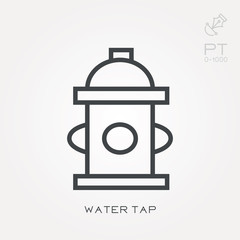 Line icon water tap