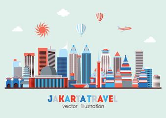 Jakarta detailed skyline. Vector illustration - stock vector