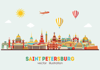 Saint Petersburg detailed skyline. Vector illustration - stock vector