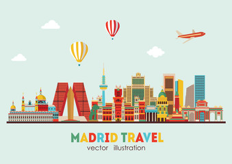 Madrid skyline. vector illustration - stock vector