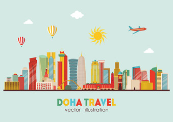 Doha detailed skyline. Vector illustration - stock vector