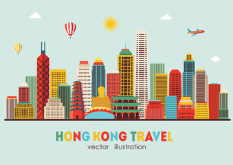 Hong Kong detailed silhouette. Vector illustration - stock vector