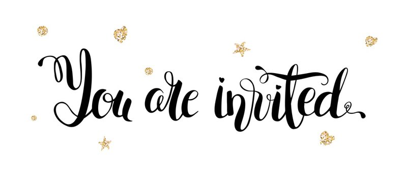 You are invited gold glittering lettering design with hearts and stars pattern isolated on white background. Vector illustration