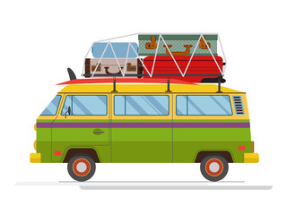 Isolated old minibus with big luggage on the roof. Flat design. Vector.