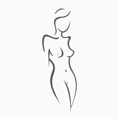 Sexy fitness naked girl with a chic figure. Intimate sexy lady, model in a pose. Lovely  ass bikini zone. Drawn graphics for design, Abstraction background