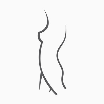 Sexy fitness figure of a girl. Intimate hygiene, vector lady poses. Lovely elastic ass bikini zone. Drawn graphics for design, background
