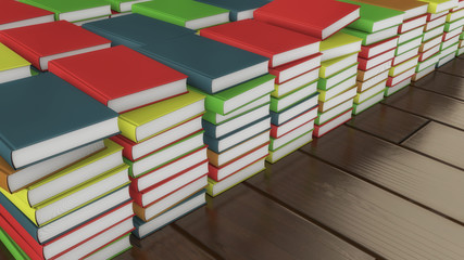 3d render. Many colored books