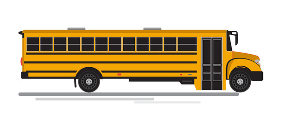 Isolated flat colorful school bus.