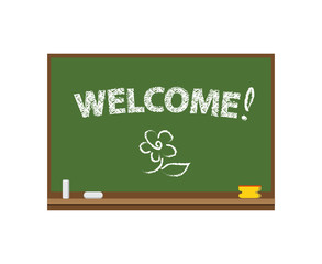 School green blackboard with word welcome.