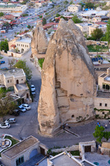 Fairy chimneys in Goreme town of Cappadocia