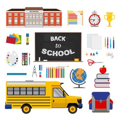 Colorful flat design with set of stationary elements, school and school bus.