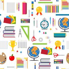 Basic education seamless background with stationary elements.