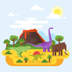 prehistoric landscape and volcano with dinosaurs.
