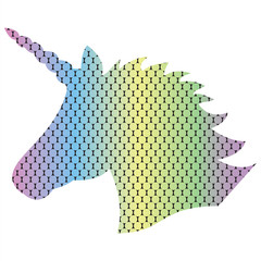 Shape silhouette  of the magical unicorn on the dotted rainbow effect background in 3D effect