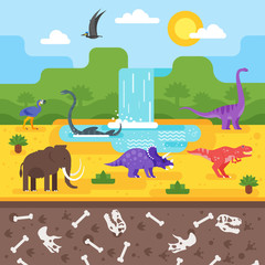prehistoric landscape with dinosaurs.