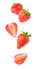 Isolated strawberries. Falling strawberry fruits whole and cut in half isolated on white background...