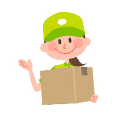 vector illustration of a delivery woman