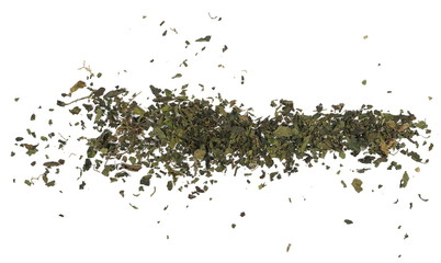 Dry cut nettle pile, isolated on white background, top view