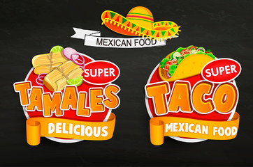 Set od traditional Mexican food logos, emblems.