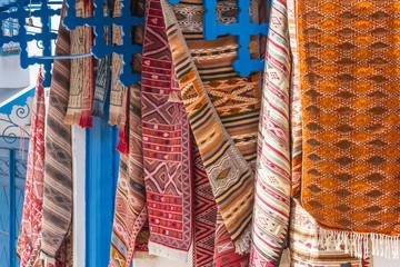Colored carpets - souvenirs in Tunisia