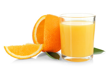 Composition with glass of fresh juice and orange on white background