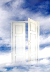 Wall Mural - Divine, angel, mystic, magic white door with copy space with copy space