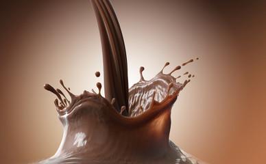 Pouring Chocolate splash on creamy gradient background