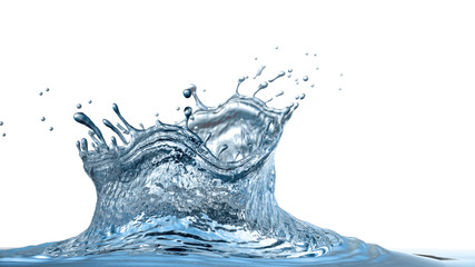 Water crown with drops and ripples