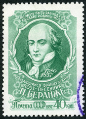 USSR - 1957: shows Pierre Jean de Beranger (1780-1857), French Song Writer