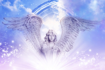 angel archangel with big wings over a mystical Divine sky with a gate and stars