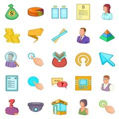 Salary icons set, cartoon style